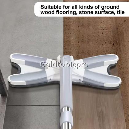 X Shape Flat Mop Hand Free Hand Free Self-Twisting Flat Mop with Microfiber Fabric Mop Pad 360-degree Swivel Floor Cleaning