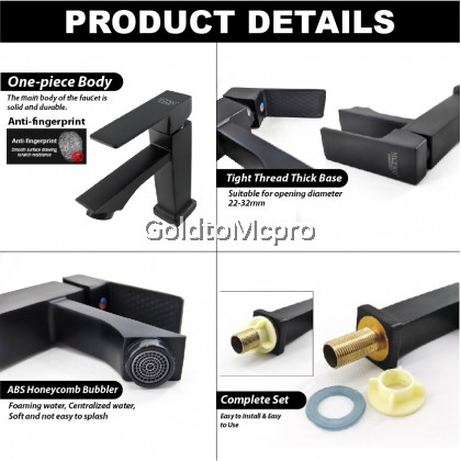 MCPRO Black Oxide Coated Bathroom Faucet PILLAR SINK BASIN WATER TAP SQUARE - CY37B